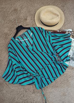 Шикарная полосатая блузка на запах/блуза/кофточка/топ