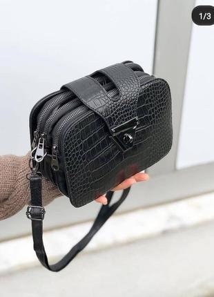 Маленькая черная сумочка клатч рептилия кроссбоди маленька чорна сумка