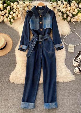 Джинсовый комбинезон-куртка на высокую талию с квадратным поясом