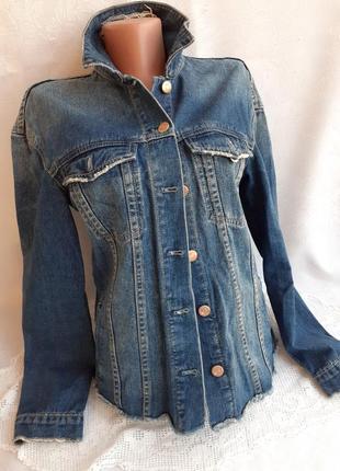 Italia пиджак джинсовый ровный удлиненный 100% коттон на болтах