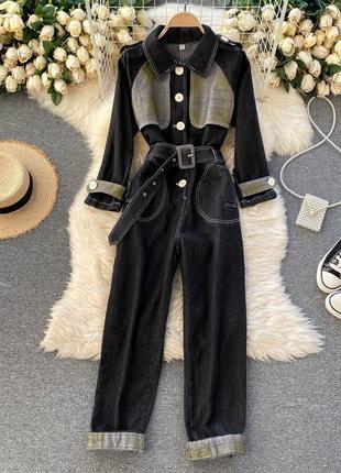 Черный джинсовый комбинезон-куртка на высокую талию с квадратным поясом