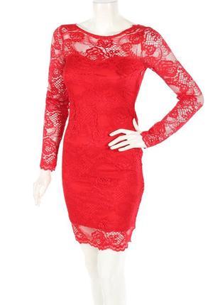 Красное кружевное платье от h&m