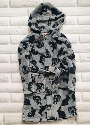 Next классный плюшевый  халат велсофт  на девочку  7 -8 лет