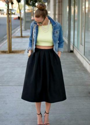 Чёрная юбка-солнце миди