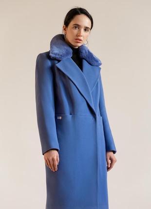 Утеплённое пальто с натуральным мехом зима демисезон шерсть кашемир
