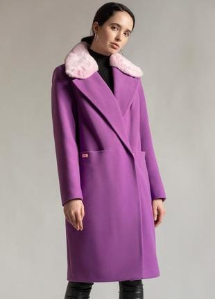 Утеплённое пальто с натуральным мехом демисезон зима кашемир шерсть