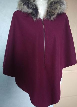 Шикарное женское пончо с капюшоном фиолетовое/цвет баклажана/кейп/накидка