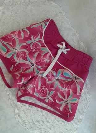Garments itaty шорты яркие малиновые с цветочным принтом с широким поясом