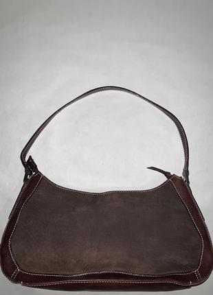 Кожаная фирменная сумочка на / в руку, на плечо marks & spencer.2 фото