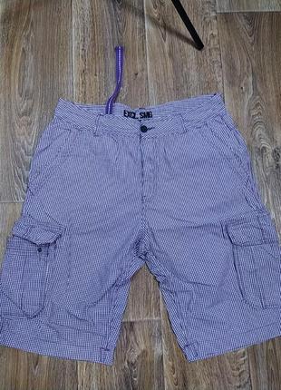 Фиолетовые в клетку шорты бриджи  с накладными  карманам
