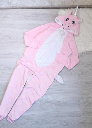 Плюшевый комбинезон кенгуру розовый единорог