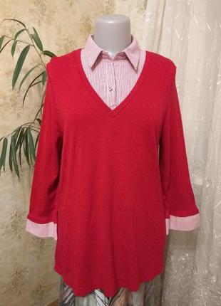 Bhs-limited-england пуловер блуза туніка обманка 2в1 клеш пог50-60