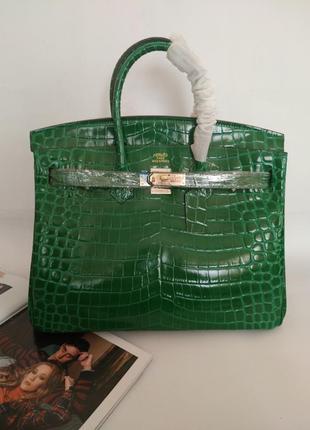 Женская кожаная зеленая сумка в стиле hermes birkin👑
