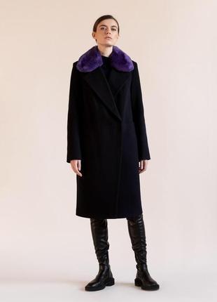 Утеплённое зимнее пальто с натуральным мехом зима демисезон шерсть кашемир