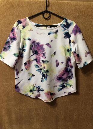 George blouse блуза кофта кремовая с цветочным узором