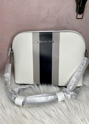 Michael kors cindy striped saffiano leather dome crossbody bag