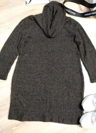 Теплое стильное платье миди туника