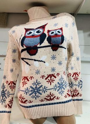 Теплый свитер с совами