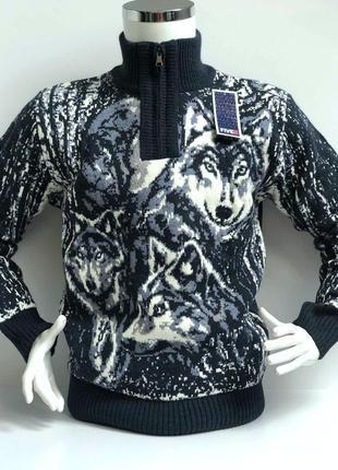 Теплый свитер с волками