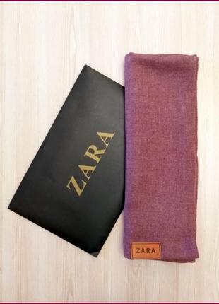 Шерстяной однотонный мягкий шарф zara бордовый