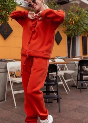 Теракотовый костюм на флисе