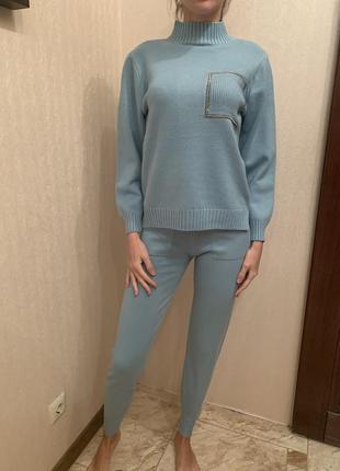 Костюм трикотажный женский, костюм с брюками тёплый