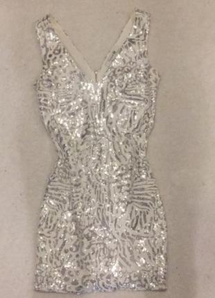 Платье на новый год в пайетках xs-s 42-44 36 пайетках паетки новорічна сукня