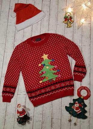 Красный новогодний свитер елочка кофта джемпер елка со звездой елочные игрушки
