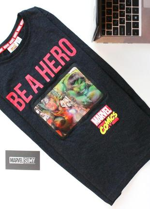 """Детский лонгслив """"будь героем. марвел. be a hero. marvel""""❤️"""