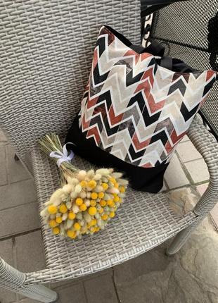 Эко-сумка ручной работы из испанского хлопка с подкладом и карманом