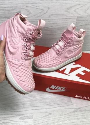 Зимние женские кроссовки nike lunar force 1 duckboot розового цвета