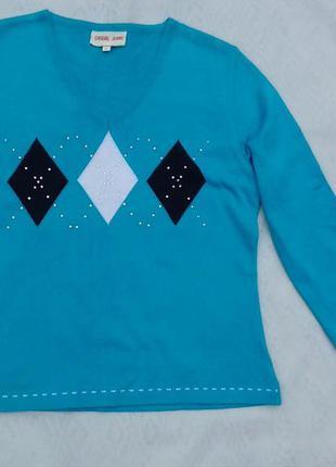 Джемпер, свитер голубого цвета с ромбами casual jeans