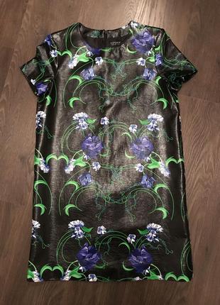 Шикарное платье кожзам цветы подарок новый год