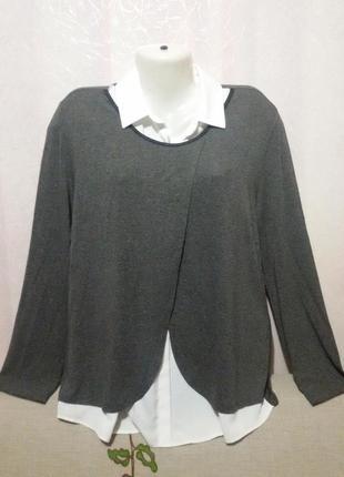 Джемпер с блузочкой обманкой вискозный (пог 52-57 см)