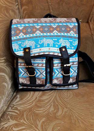 """Новый стильный рюкзак- портфель в абстракцию """" слоники"""""""
