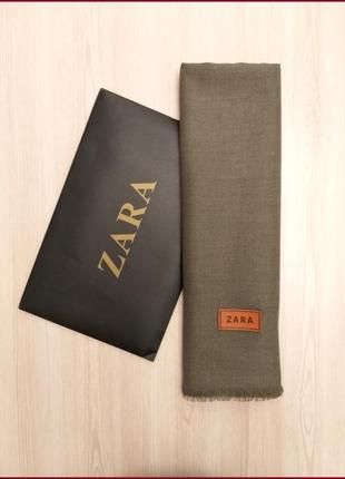 Шерстяной однотонный мягкий шарф zara серый