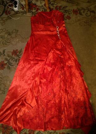 Роскошное,длинное,вечернее платье с болеро-шалью,гипюр,стразы,большого размера