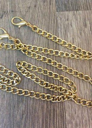 43cf1440b78a Ручка цепочка для сумки клатча цвет золото с карабинами 120см 8мм 50г  994341 фото