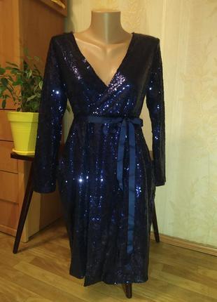 Женское платье в пайетках синие 44
