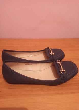 Тёмно-синие балетки tu. лодочки без каблука. сменная обувь