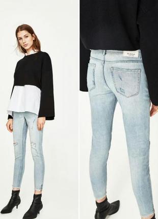 Zara джинсы узкие скини замочки