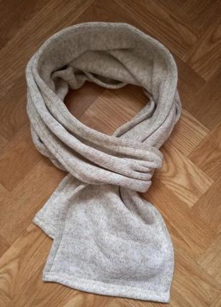 Фирменный зимний меланжевый шарф на флисе мужской женский.