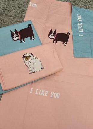 Полуторный комплект постельного белья собачки двусторонний с большой простынёй