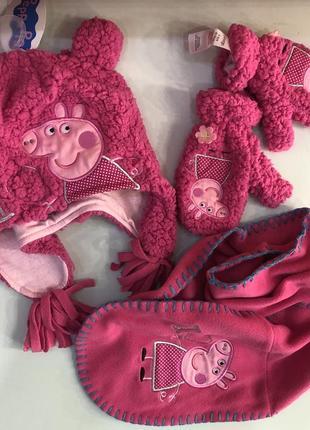 Набор шапка варежки шарфа с пеппой