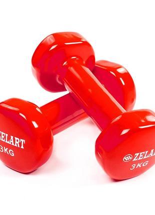 Виниловые гантели по 3кг красные для тренировок