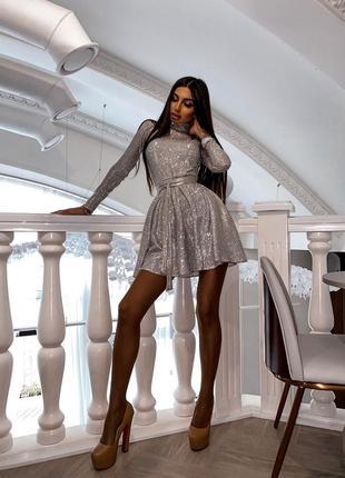 Платье блестящее люрекс голограмма праздничное новогоднее