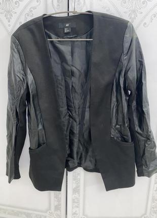 Пиджак с кожаными вставками h&m