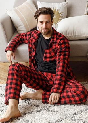 Мужская пижама красная клетка теплая байка хлопок штаны кофта рубашка тройка