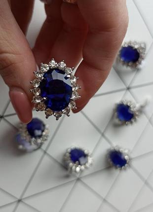 Легендарное помолвочное кольцо принцесса диана с аквамарином перстень