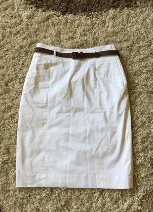 Белая классическая юбка h&m с высокой посадкой